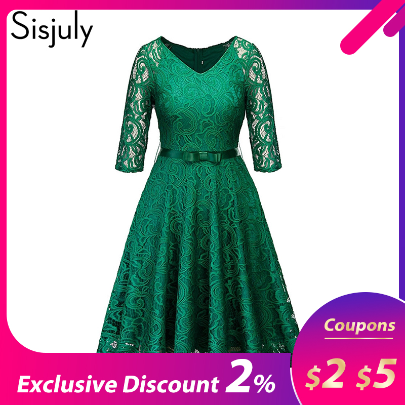 Women Evening Party Retro Gothic Black Navy Blue Green Hollow Out Floral Lace Dress Bow Ribbon Belt Spring Summer Work Dresses