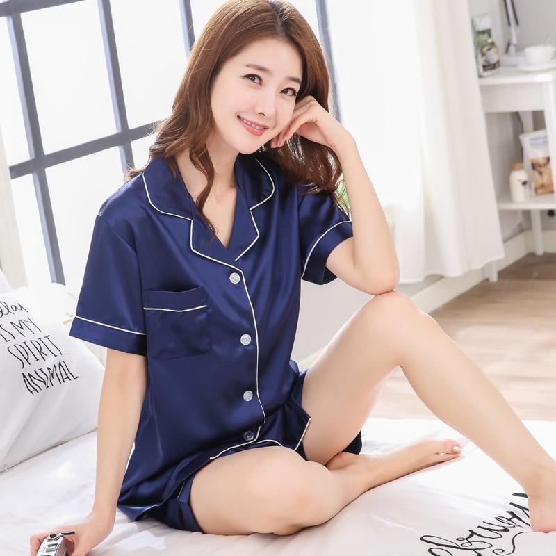 New Spring Summer Women Faux Silk Satin Pajamas Set Simple Pure Color Leisure Nightwear Short Sleeves Sleepwear Home Clothes