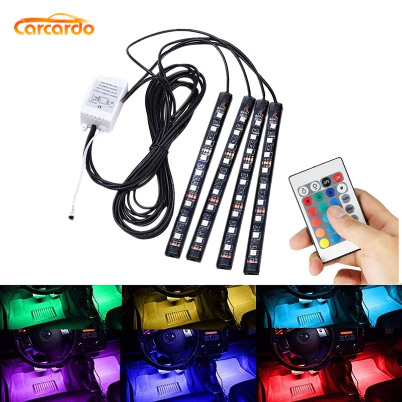 Carcardo Car LED Atmosfære Neonlampelampe LED Trådløs fjernbetjening Multi Color RGB Strip Car Interior Lighter