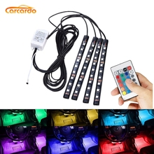 Carcardo araba LED atmosfer Neon işık lambası LED kablosuz uzaktan çok renkli RGB şerit araba iç çakmak