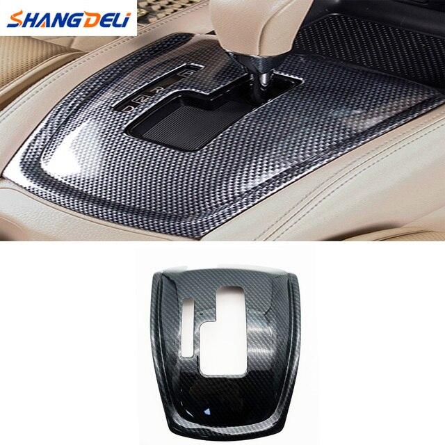 1Pc 자동차 기어 시프트 노브 스티커 패널 커버 트림 왼쪽 손 드라이브 탄소 섬유 ABS 닛산 X 트레일 T32 불량 2014 2019