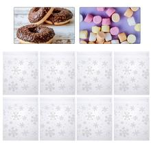 200pcs 14x14cm Snowflakes Pattern Cookie Bags Transparent Durable Self Adhesive Candy Bags Package Bags For Bakery