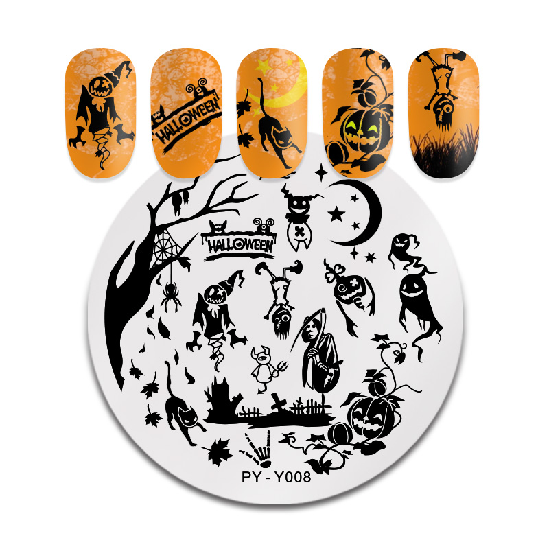 Image 4 - PICT YOU Halloween Nail Stamping Plates Pumpkin Flowers Animal Tropical Geometry Pattern Nail Art Image Lace Stamp Templates-in Nail Art Templates from Beauty & Health