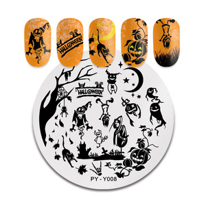 Image 4 - PICT YOU Halloween Nail Stamping Plates Pumpkin Flowers Animal Tropical Geometry Pattern Nail Art Image Lace Stamp Templates