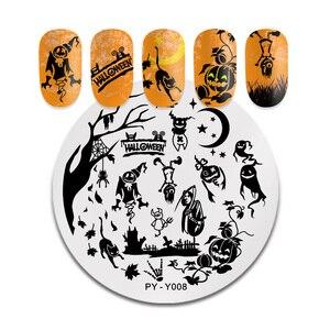 Image 4 - PICT È di Halloween Nail Stamping Piatti Fiori di Zucca Animale Tropicale Geometria Del Modello Unghie artistiche Immagine Del Merletto Timbro Tem Piatti