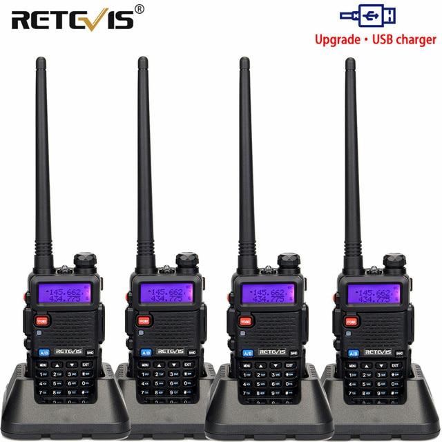 راديو محمول لاسلكي تخاطب 4 قطعة USB تهمة Retevis 5 واط RT5R 128CH VHF UHF ثنائي النطاق لاسلكي للهواة الإرسال والاستقبال 2 طريقة راديو RT 5R