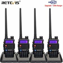วิทยุแบบพกพาเครื่องส่งรับวิทยุ4Pcs USBชาร์จRetevis 5W RT5R 128CH VHF UHFเครื่องรับวิทยุสมัครเล่น2 WayวิทยุRT 5R