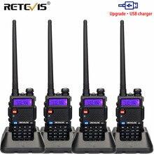 휴대용 라디오 워키 토키 4pcs USB 충전 Retevis 5W RT5R 128CH VHF UHF 듀얼 밴드 아마추어 송수신기 2 웨이 라디오 RT 5R