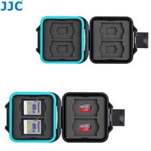 JJC caméra étuis de carte mémoire porte boîte de rangement organisateur pour 4 SD SDHC SDXC 4 Micro SD TF cartes avec outil de retrait de carte et lanière