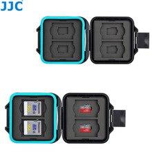 JJC kamera hafıza kartı muhafazası tutucu saklama kutusu organizatör 4 SD SDHC SDXC 4 mikro SD TF kartları kart temizleme aracı ve kordon