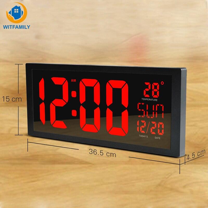 Grand nombre mur LED horloge affichage thermomètre électronique semaine décorer temps horloge mémoire horloge numérique maison horloges murales