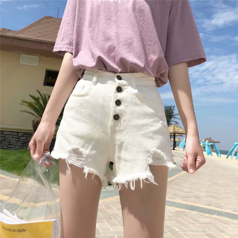 Autumn And Winter New Street Solid Color High Waist Denim Shorts Women, Trend Washed Sexy Hole Denim Shorts Ladies