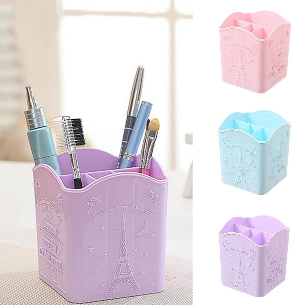 Portable Office Home Desktop Pen Holder Container Cosmetic Makeup Brush Case Box