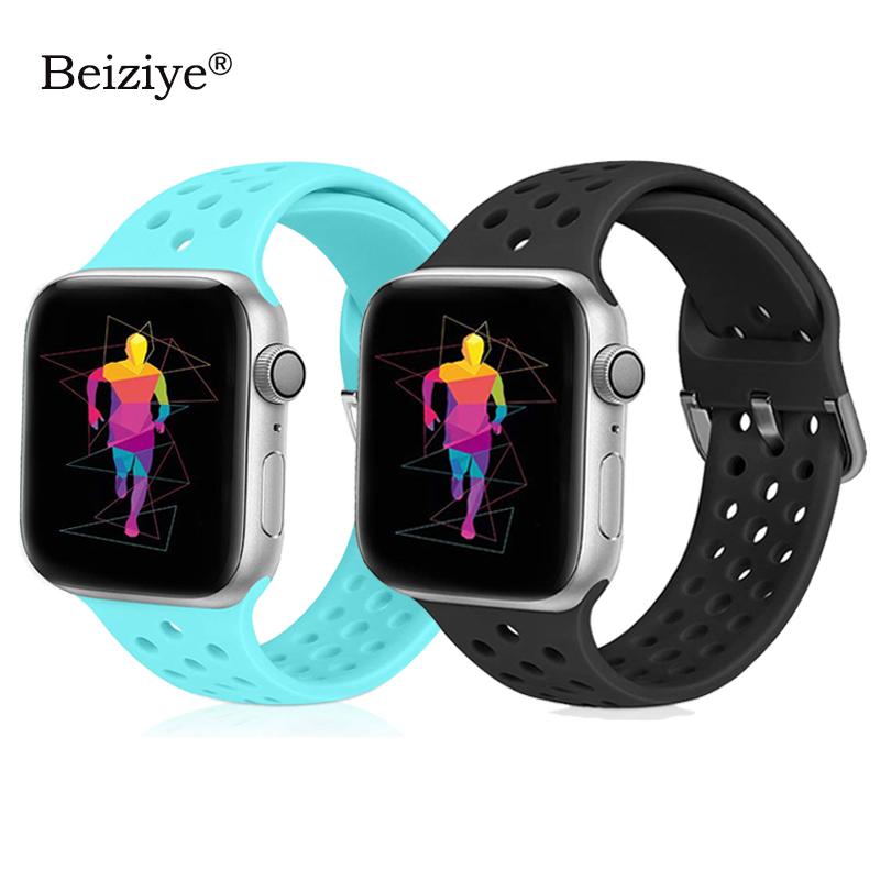 New Fashion Silicone Strap For Apple Watch Band 42mm 38mm 40mm 44mm Series 5 4 Sport Breathable Bracelet For IWatch Band 3 2 1