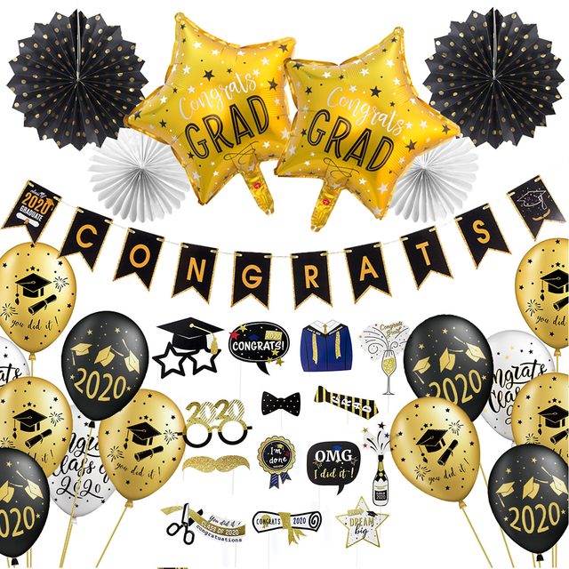 Graduation 2020 With Latex Balloons Hanging Congrats Banner Photo Booth Props Graduation Party Decorations Favors