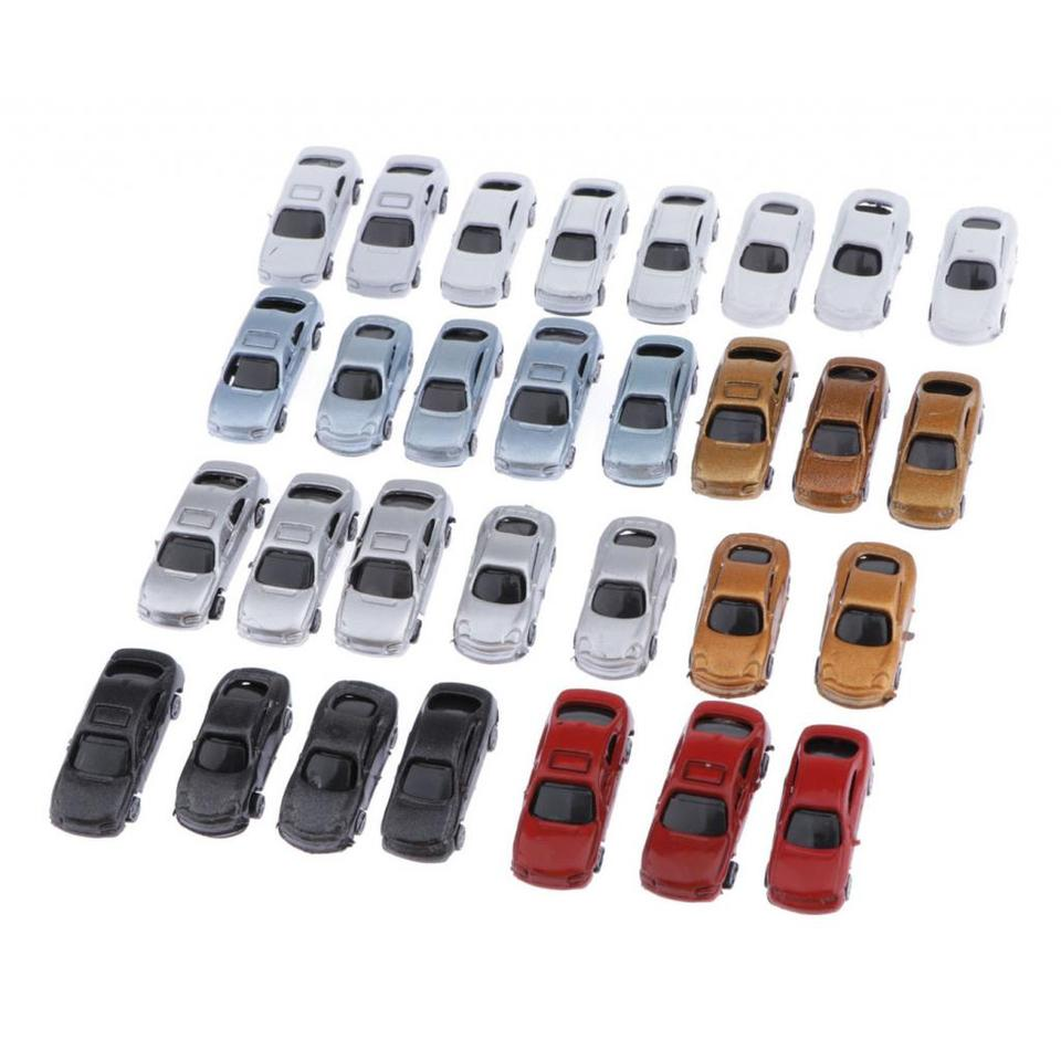 30pcs Painted Model Cars and 5pcs Truck Building Train Layout Z Scale 1:200