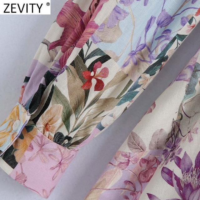 Zevity Women Stand Collar Breasted Bow Sashes Shirtdress Female Patchwork Floral Print Vestidos Chic A Line Mini Dresses DS8255 6