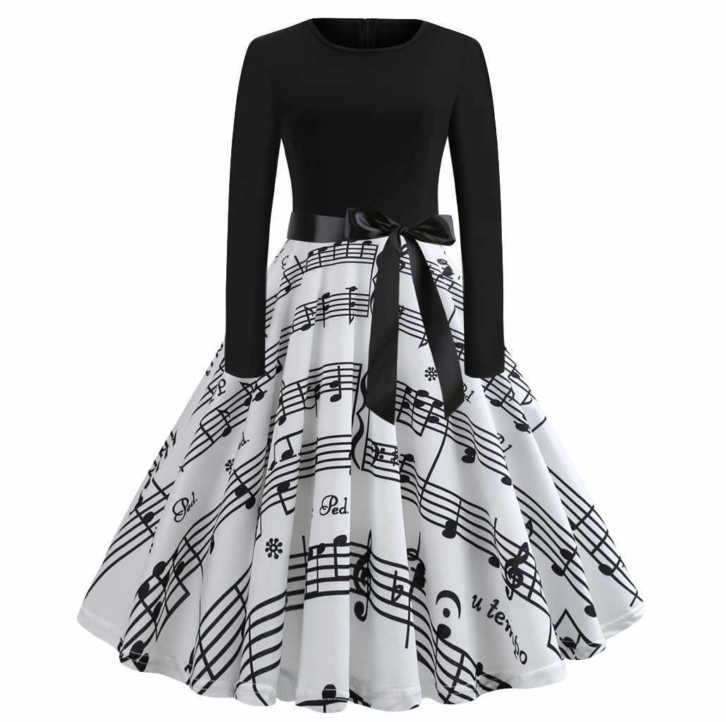 חג המולד דיגיטלי הדפסת שמלת נשים סתיו חורף גדול נדנדה ארוך שרוול O-צוואר שמלות אופנה אלגנטית גבוהה מותן שמלה קיצית