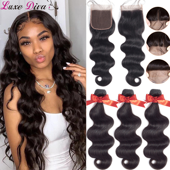 Luxediva Body Wave Bundles With Closure Brazilian Hair 4x4 Lace 30 Inch Remy Human Extensions - discount item  53% OFF Beauty Supply