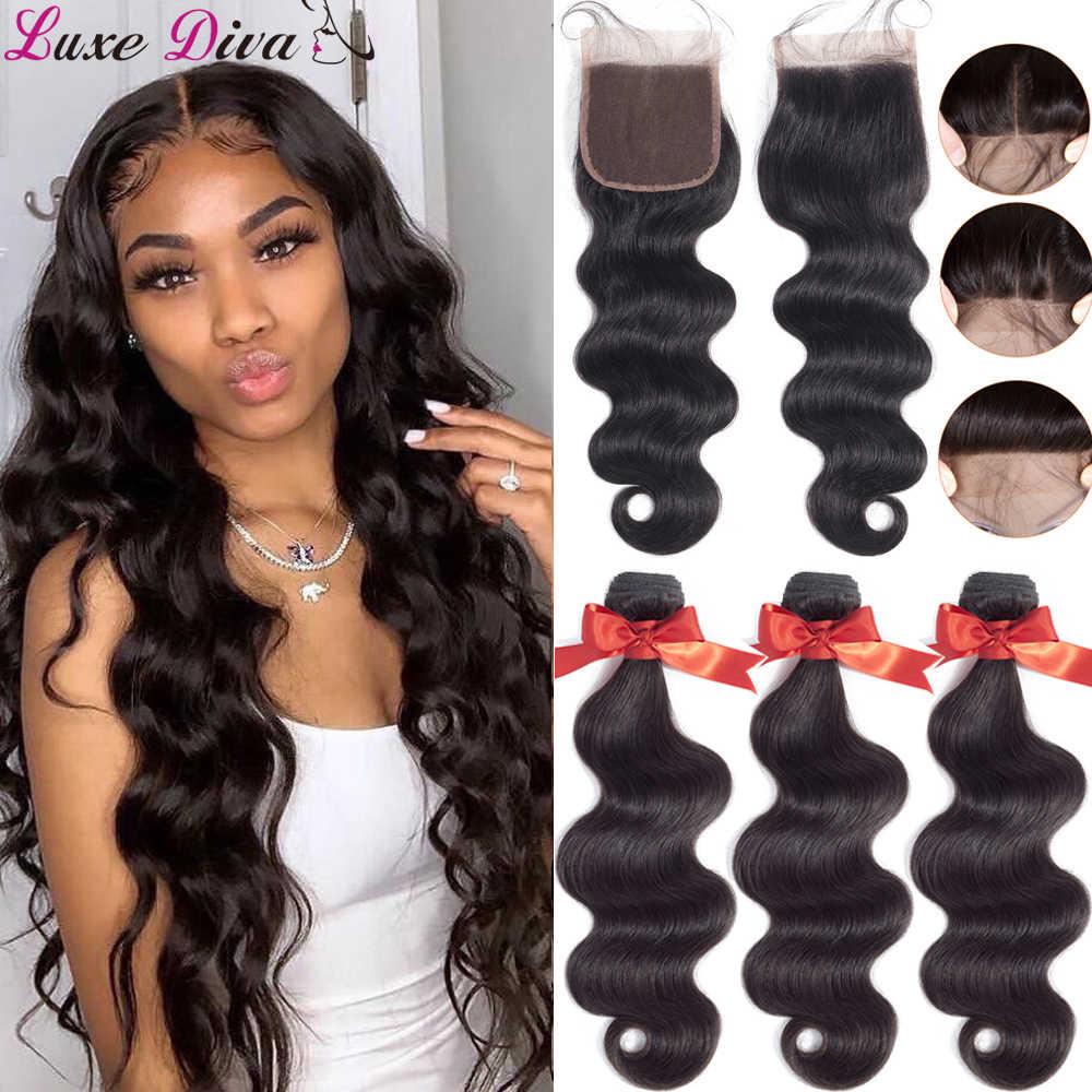 Luxediva onda do corpo pacotes com fechamento do laço tecer cabelo brasileiro pacotes com fechamento remy duplo desenhado cabelo humano 30in pacotes