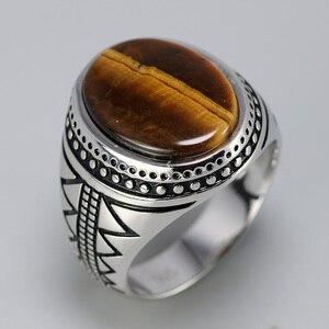 Image 5 - Bague en argent solide pour hommes, bague en argent rétro rétro, avec pierres naturelles doeil de tigre, bijoux turcs 925