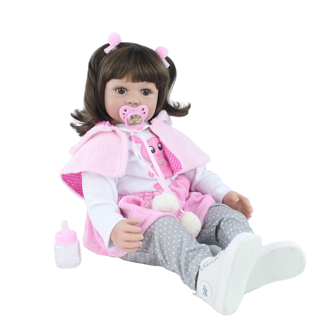 60cm Soft Silicone Viny Reborn Babies Girl Like Real Toddler Princess Alive Bebe Lovely Birthday Gift