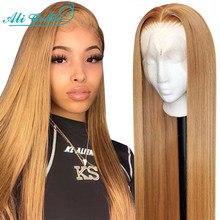 Ali Grace, коричневый блонд, 27 цветов, прямые волосы на шнурках с детскими волосами, 24 дюйма, предварительно выщипанные бразильские волосы, 4x4, пр...