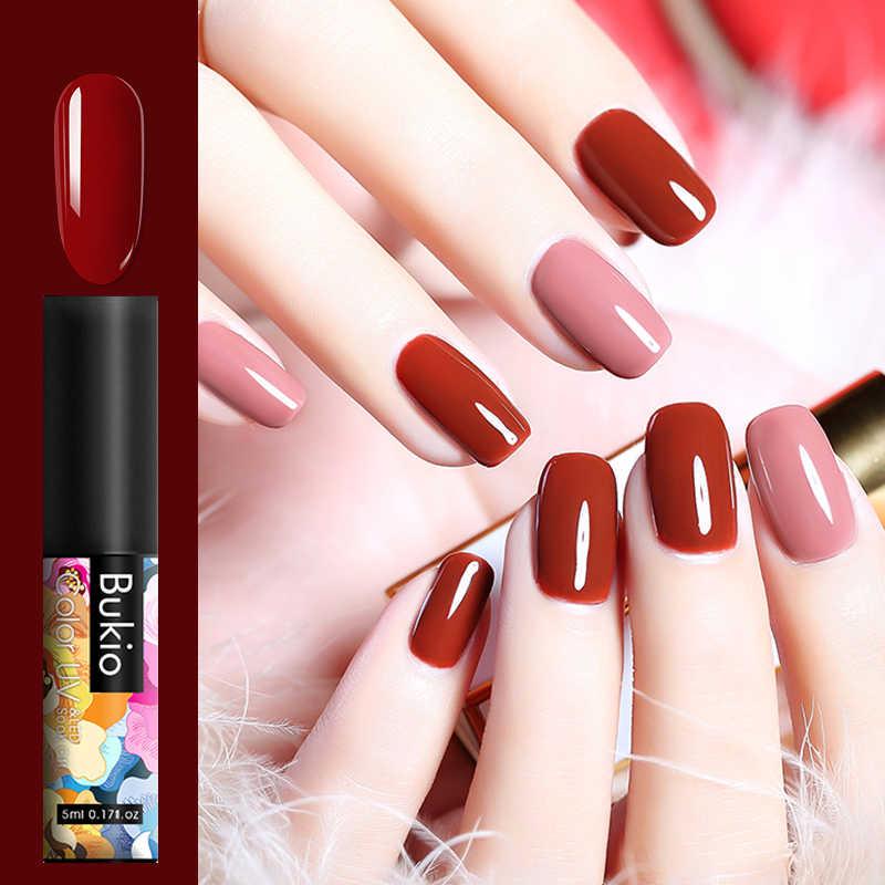 Bukio 5ml 60 Kleuren Matte UV Gel Nagellak Pure Kleur Emaille Manicure Nodig Matte Top Coat Losweken gel Vernis Nail Art
