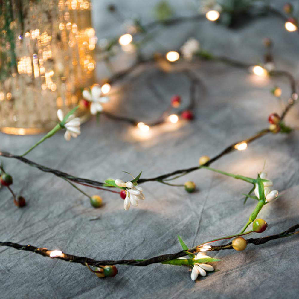 2M 20leds Fruit Copper Wire LED String Lights Holiday Lighting Fairy Lights Christmas Garland For New Year Wedding Party Decor