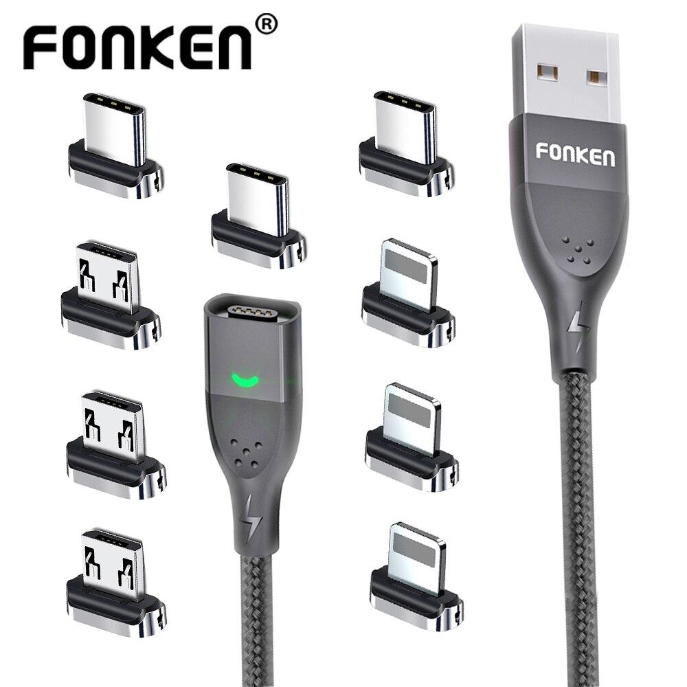 Магнитный кабель FONKEN 3A USB магнитное зарядное устройство для телефона шнур для передачи данных USB Тип C кабель Магнитный кабель для быстрой за...