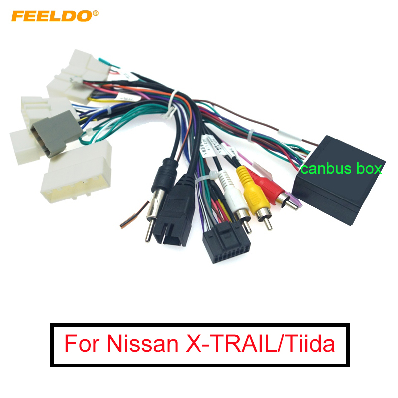 FEELDO Car Stereo Audio 16PIN Android Power Cable Adapter With Canbus Box For Nissan X-TRAIL/Tiida Power Cable Wiring Harness