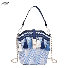 GUBINTU Vintage Bags For Women  Beach Straw Bag Ethnic Style Ribbon Tassel  Handbags Shoulder Bag Female Messenger Bags naxi hani original brocade embroidered women handbags vintage ethnic handmade tassel sequins canvas shoulder bags
