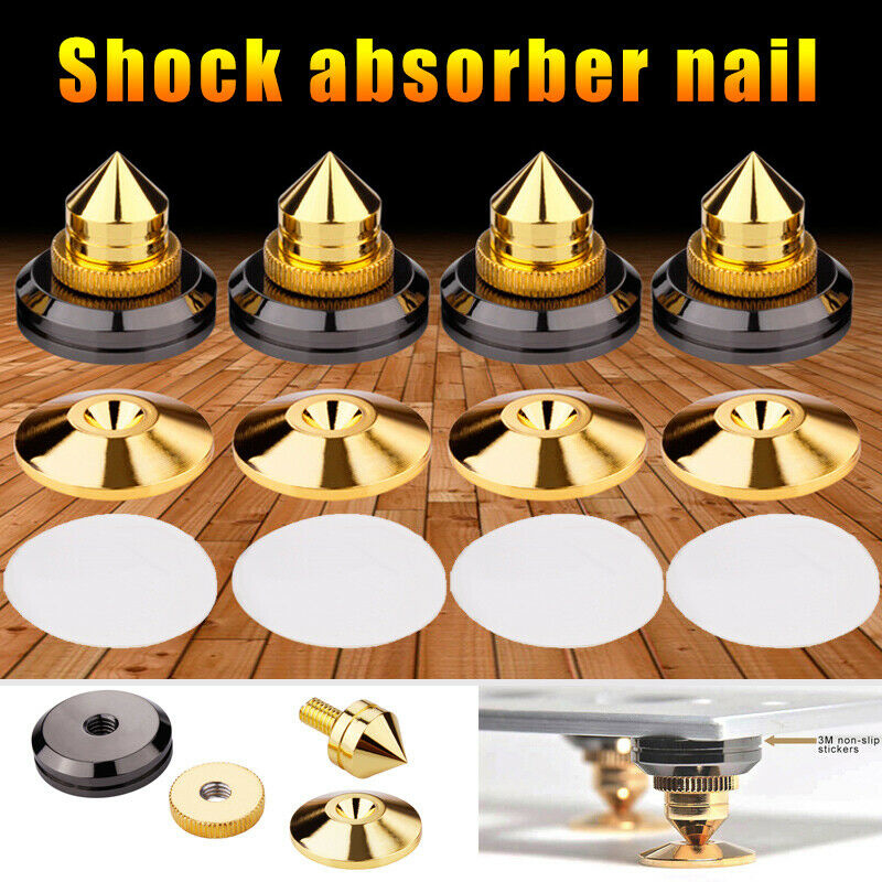 1 Set /4 Set Of Gold Speaker Tips Insulating CD Amplifier Turntable Foot Foot Double Sided Adhesive