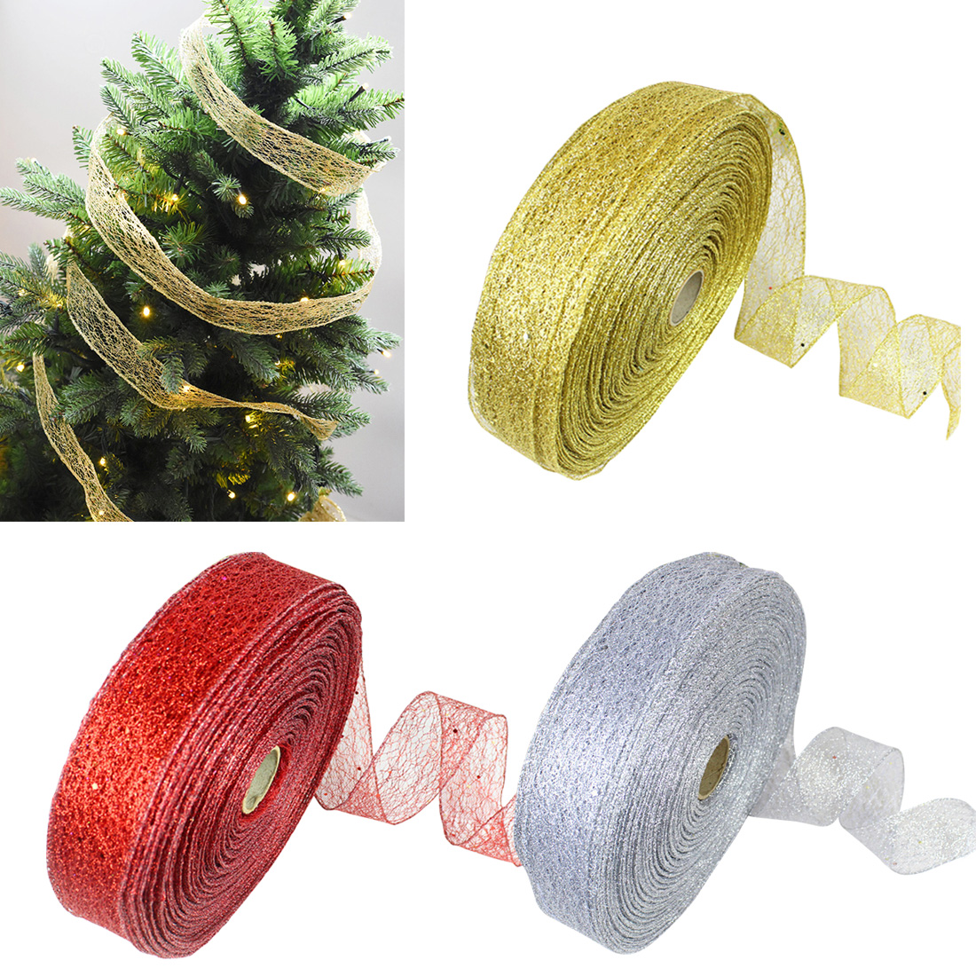 2M Gold And Silver Silk Satin Ribbon Metallic Luster Party Wedding Decoration Gift Christmas New Year DIY Decor Material Bowknot