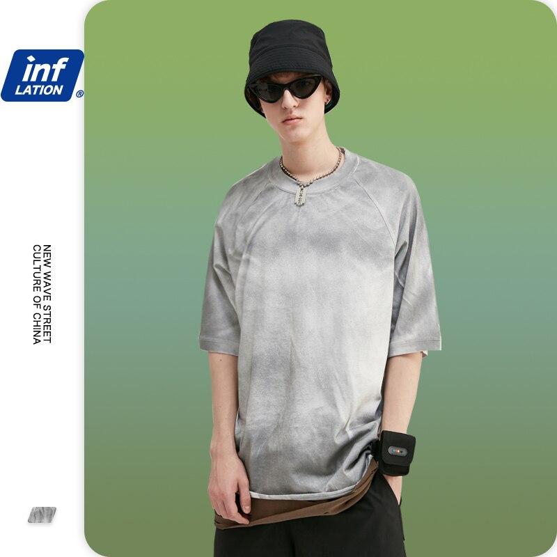 INFLATION Men T-shirt Grey Color Tie Dye Wash Summer Hip Hop Tie Dyed Men Tees Fashion O-neck Tie Dye T-shirt Men Tshirt 1133S20