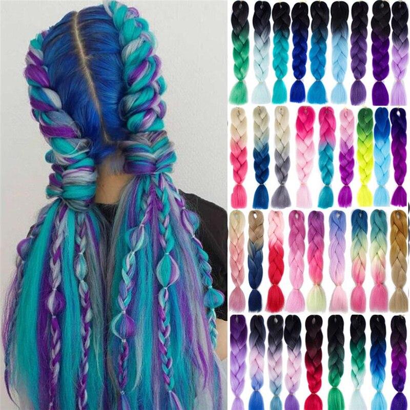 SmartBraid эффектом деграде (переход от темного к Jumbo, на крючках, косички, синтетика, волосы 24 100 гр., волосы в косичках наращивание Радуга Цвет для оптовой продажи