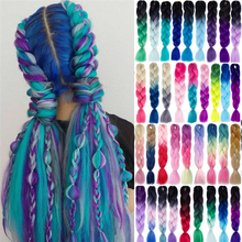 Braiding-Hair-Extensions Jumbo Braids Synthetic-Hair Rainbow-Color Wholesale Ombre 100g