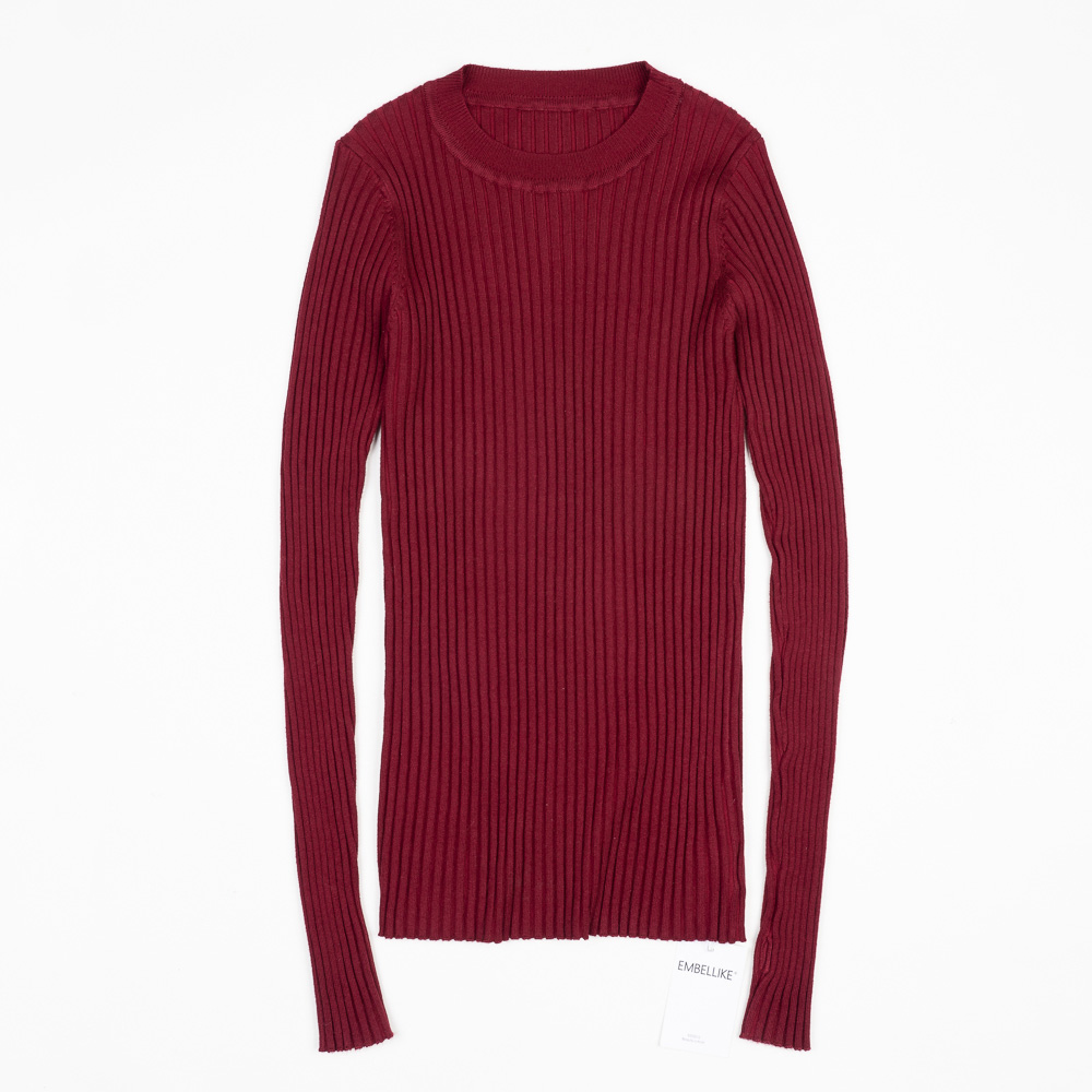 Women Sweater Pullover Basic Ribbed Sweaters Cotton Tops Knitted Solid Crew Neck With Thumb Hole 22