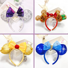 Mickey Minnie Ear Headband Disney New Peter Pan Big Sequin Bows EARS COSTUME Headband Cosplay Plush Adult Kids Headband