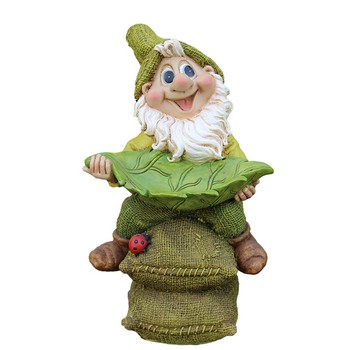 Poly Resin Garden Gnome Figurine Courtyard Dwarf Statue Outdoor Dwarf Sculpture Decorations  Home Decor