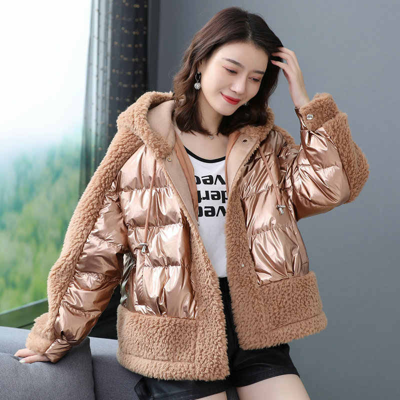 Winter Women Oversize Puffer Hooded Jackets Glossy Fabric Berber Fleece Plush Woolen Puff Basic Coat Woman Warm Hood Outerwear