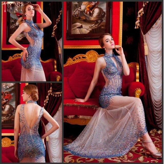 Ücretsiz kargo parti 2016 seksi çıplak lüks taklidi kristal vestidos formales gece elbisesi kırmızı uzun altın balo kıyafetleri