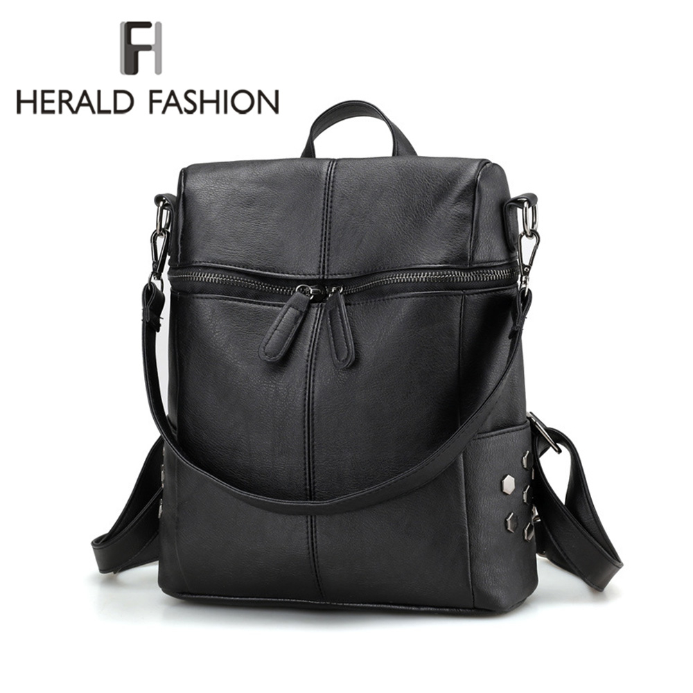 Herald Fashion Women Zipper Backpack Quality Leather Solid School Bags For Teenager Big School Backpack Vintage Shoulder Bags