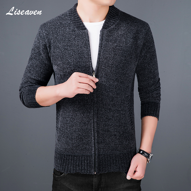 Liseaven Mens Cardigan Sweater Thick Warm Coat Slim Fit Jumpers Knitwear Warm Autumn Winter Cardigans Casual Clothing Men