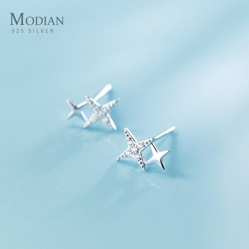 Modian Luxury Clear CZ Sparkling Stars Cute Galaxy Stud Earrings Fashion Female Real 925 Sterling Silver Jewelry For Women Gift