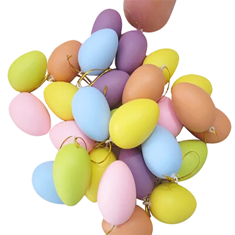 12pcs Mixed Color Easter Decoration For Home Kids Children DIY Painting Egg Toy With Rope Gifts Hanging Easter Egg 30JAN09