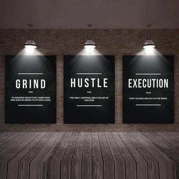 Modern Decor Poster Wall Art Grind Hustle Execution Motivational Word Definition Canvas Painting Office Decor Home Decor Poster image
