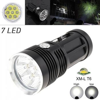LED Flashlight 3 Modes Waterproof 2100 Lumens 7 x XM-L T6 LED Super Bright Flashlight 2100 Lumens White Light Color for Camping led flashlight torch 9000lm 15x xm l t6 led ipx6 5 light mode super bright flashlight 1200m lighting distance for camping hiking