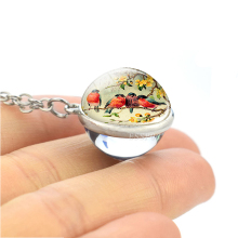 Robin Bird Glass Ball Pendant Silver Chain Necklace Good Luck Cute Animal Jewelry Gifts for Friend