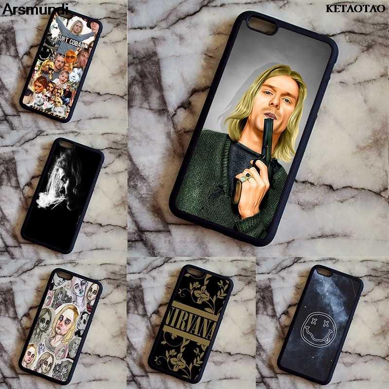 KETAOTAO Rock And roll Band Kurt Cobain Nirvana etui na telefon etui na iphone'a 4S 5S 6S 8 Plus X XR XS Max etui miękkie TPU gumowe silikonowe